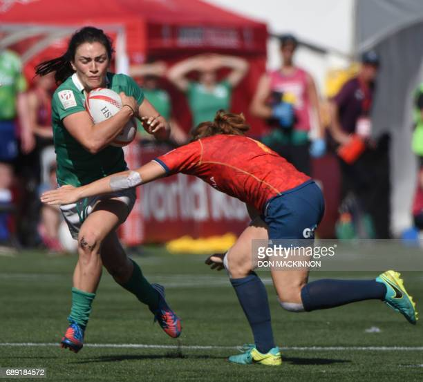 Ireland vs Spain in HSBC Canada Women's Sevens Rugby action at Westhills Stadium in Langford BC May 27 2017 Ireland won over Spain 210 / AFP PHOTO /...