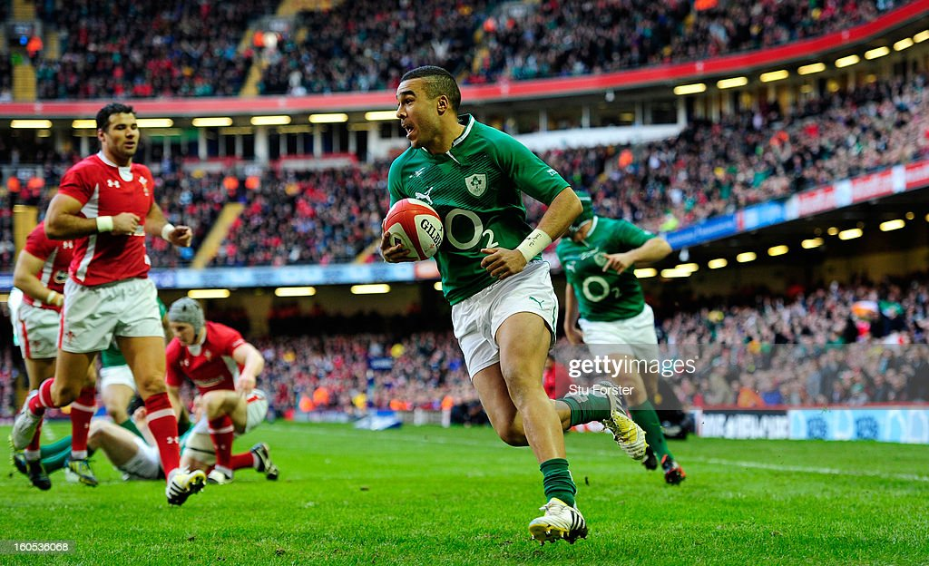 Ireland wing <a gi-track='captionPersonalityLinkClicked' href=/galleries/search?phrase=Simon+Zebo&family=editorial&specificpeople=7036694 ng-click='$event.stopPropagation()'>Simon Zebo</a> runs in the first try during the RBS Six Nations game between Wales and Ireland at the Millennium Stadium in Cardiff, Wales.