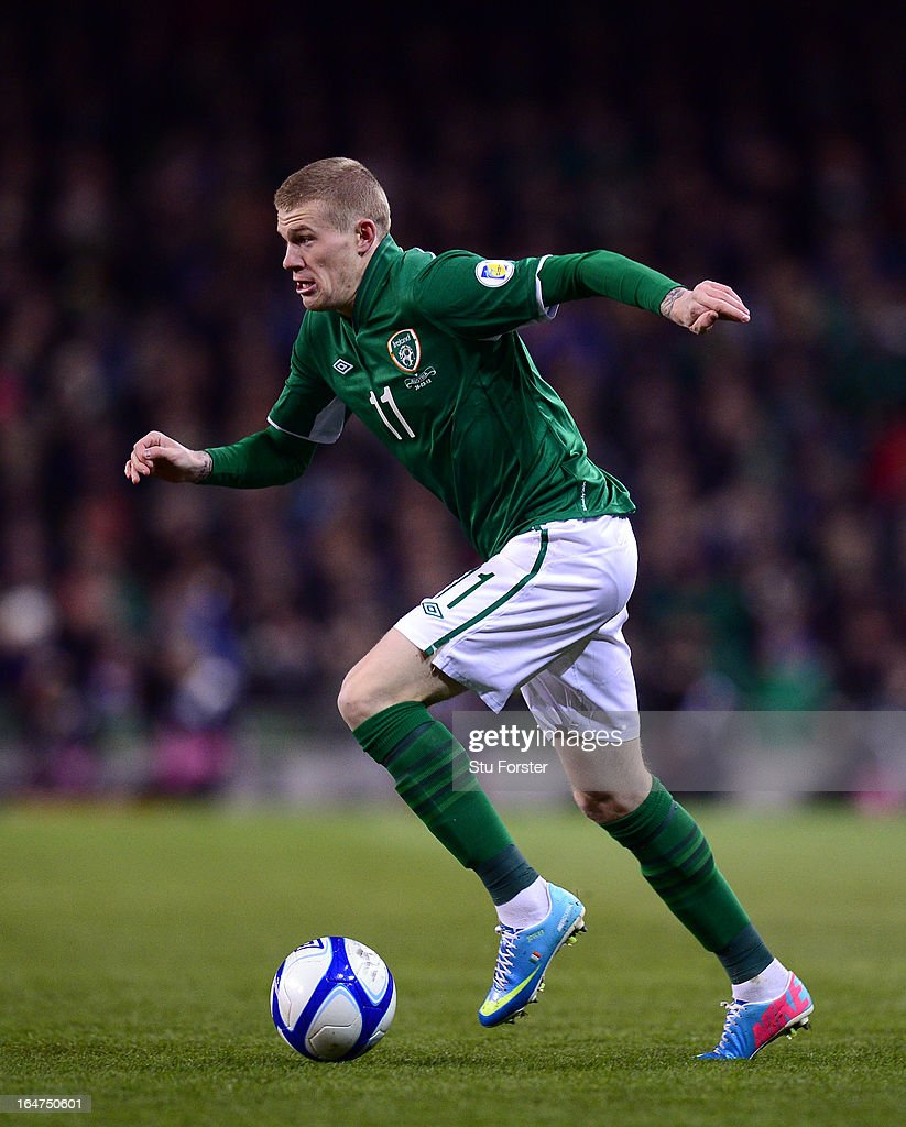 Ireland winger James McClean in action during the FIFA 2014 World Cup Group C Qualifiying match between Republic of Ireland and Austria at Aviva Stadium on March 26, 2013 in Dublin, Ireland.