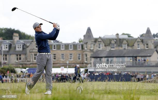 Ireland's amateur golfer Paul Dunne watches his shot from the 2nd tee during his third round on day four of the 2015 British Open Golf Championship...