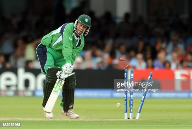 Ireland's Andre Botha is bowled out by Sri Lanka's Lasith Malinga during the ICC World Twenty20 Super Eights match at Lord's London