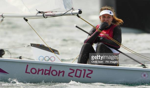 Ireland's Annalise Murphy reacts after finishing fourth in the Laser Radial class at the Olympics on Weymouth Bay Murphy had lead her class at the...