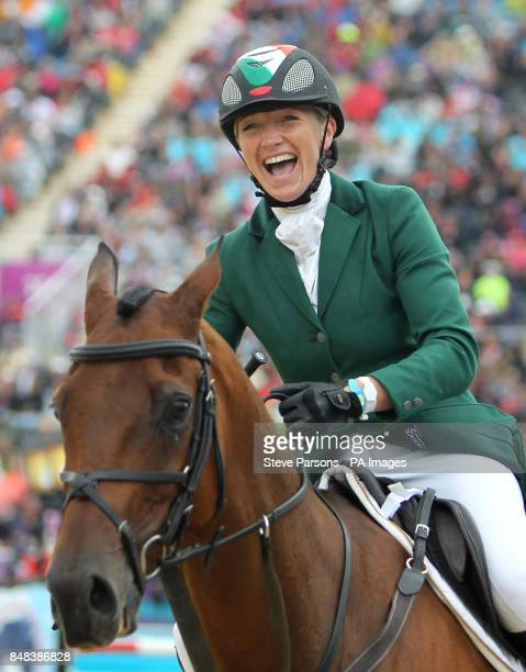 Ireland's Aoife Clark celebrates on Master Crusoe after competing in the Individual Eventing Jumping Final on day four of the London Olympic Games at...