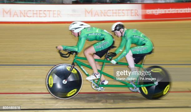 Ireland's Catherine Walsh and Caroline Ryan during the B/Vi 3KM Pursuit during the BT Paralympic World Cup Manchester