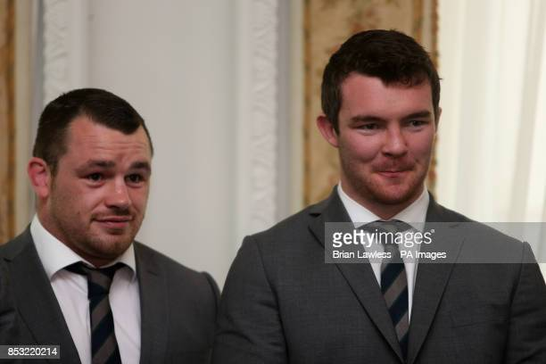 Ireland's Cian Healy and Peter O'Mahony during a reception at Farmleigh House Dublin PRESS ASSOCIATION Photo Picture date Wednesday March 26 2014...