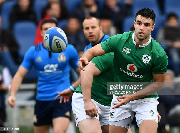 Ireland's Conor Murray catches the ball during the team's Six Nations rugby union match Italy against Ireland at the Olympic Stadium in Rome on...