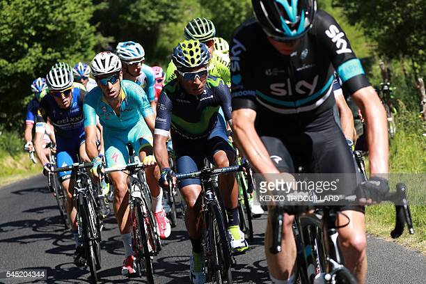 Ireland's Daniel Martin Italy's Fabio Aru Colombia's Nairo Quintana and Great Britain's Christopher Froome ride during the 216 km fifth stage of the...
