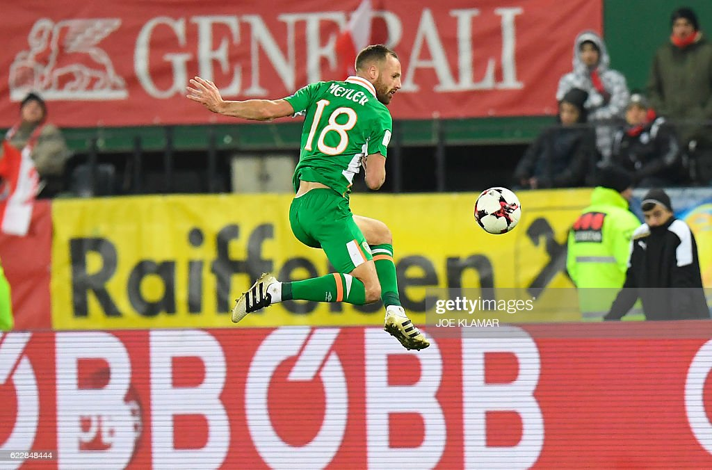Ireland's David Meyler kicks a ball during the World Cup 2018 qualification football match between Austria and Ireland in Vienna on November 12, 2016. / AFP / JOE