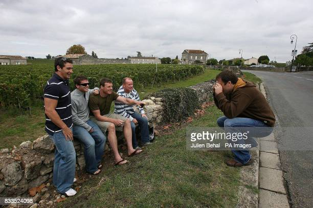 Ireland's David Wallace Gordan D'Arcy Malcolm O Kelly Frankie Sheehan and Marcus Horan as the Ireland Rugby Squad visit the famous Wine Producing...