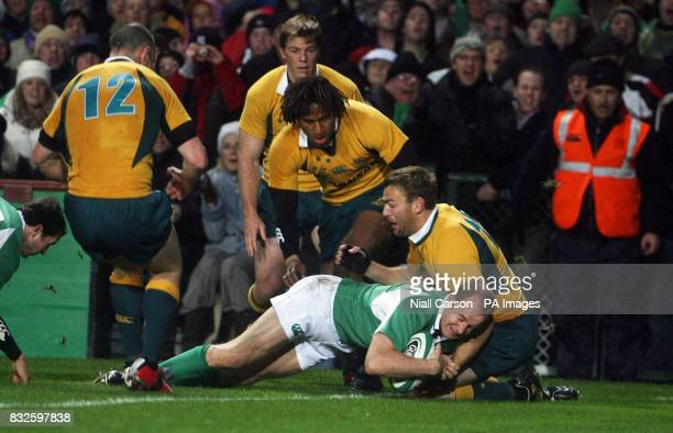 Ireland's Dennis Hickey scores a try against Australia during the International match at Lansdowne Road Dublin Ireland