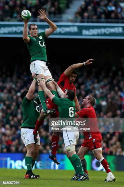 Ireland's Devin Toner wins the lineout from Wales's Taulupe Faletau during the RBS 6 Nations match at the Aviva Stadium Dublin Ireland