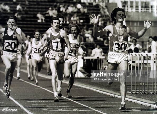 Ireland's Eamonn Coglan wins the 1500 metres final from Glen Grant and Nick Rose