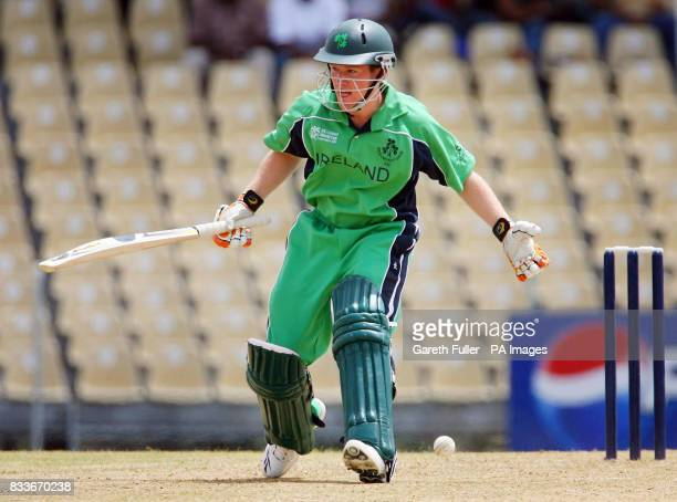 Ireland's Eoin Morgan looks to make runs during their warmup match against Canada at St Augustine Trinidad