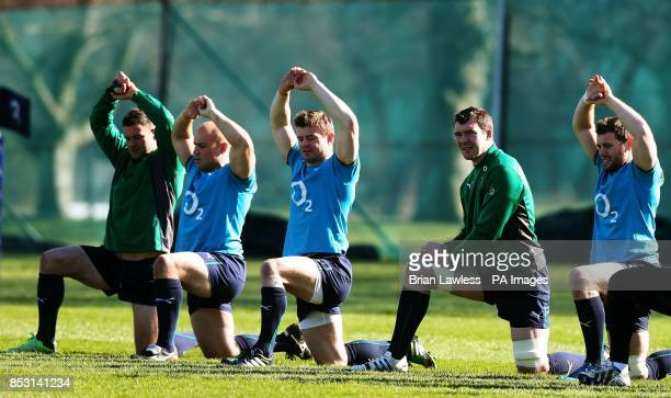 Ireland's Fergus McFadden Richardt Strauss Brian O'Driscoll Peter O'Mahony and Darren Cave during a training session at Carton House Dublin