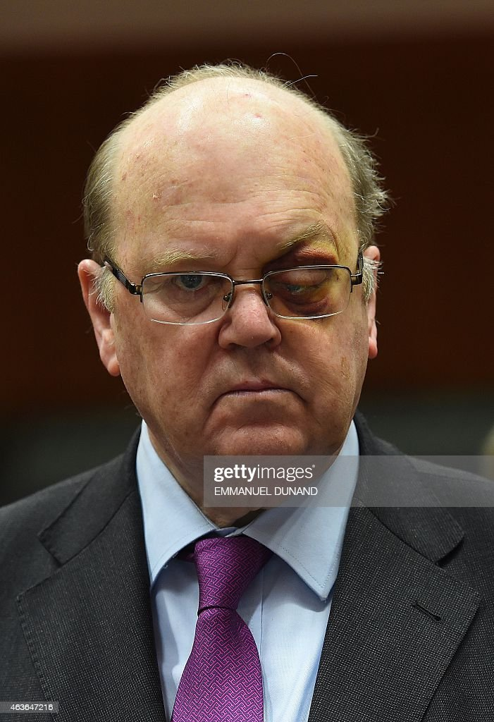 Ireland's Finance Minister <a gi-track='captionPersonalityLinkClicked' href=/galleries/search?phrase=Michael+Noonan&family=editorial&specificpeople=7554249 ng-click='$event.stopPropagation()'>Michael Noonan</a> arrives to take part in a European economic and financial affairs (ECOFIN) meeting at the European Council in Brussels, on February 17, 2015. AFP PHOTO/Emmanuel Dunand