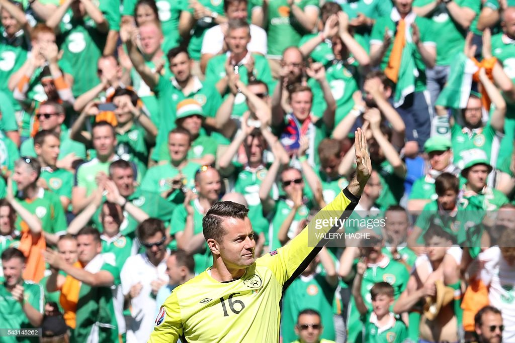 Ireland's goalkeeper Shay Given reacts after the Euro 2016 round of 16 football match between France and Republic of Ireland at the Parc Olympique Lyonnais stadium in Décines-Charpieu, near Lyon, on June 26, 2016. France won the match 2-1. / AFP / Valery HACHE