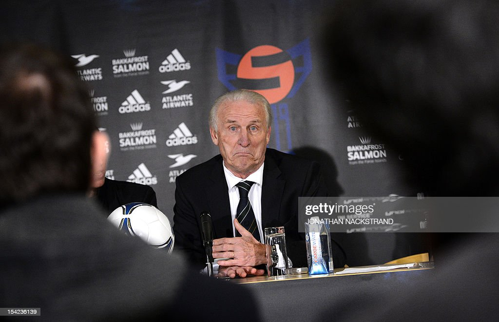 Ireland's head coach, Italian Giovanni Trapattoni speaks during a press conference after the FIFA 2014 World Cup group C qualifying football match Faroe Islands vs Republic of Ireland at the Torsvollur stadium in Torshavn on October 16, 2012. Ireland won 1-4.