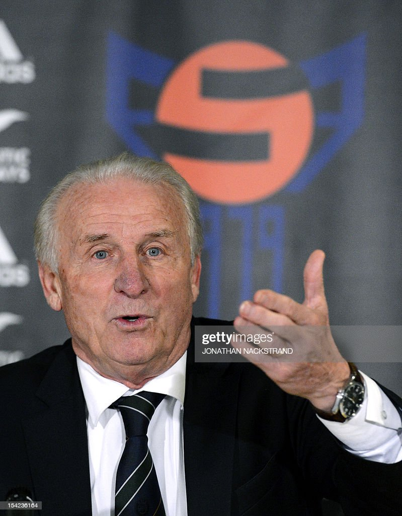 Ireland's head coach, Italian Giovanni Trapattoni speaks during a press conference after the FIFA 2014 World Cup group C qualifying football match Faroe Islands vs Republic of Ireland at the Torsvollur stadium in Torshavn on October 16, 2012. Ireland won 1-4. AFP PHOTO / JONATHAN NACKSTRAND