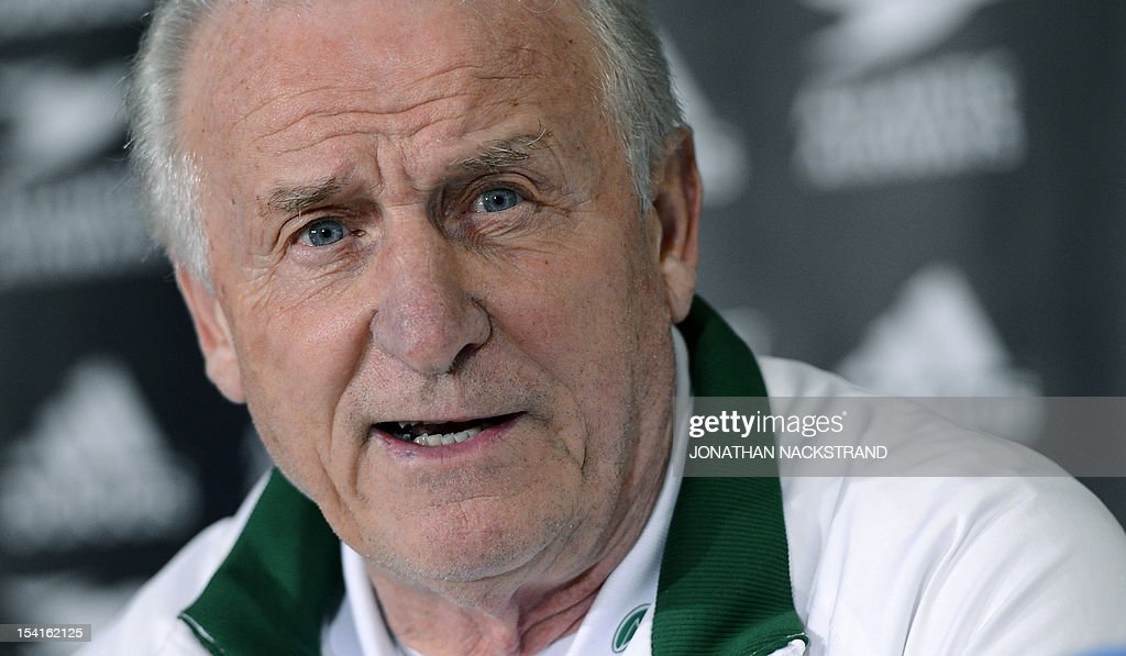 Ireland's Italian head coach, Giovanni Trapattoni addresses a press conference on October 15, 2012, one day before the FIFA 2014 World Cup group C qualifying football match Faroe Islands vs Ireland at the Torsvollur stadium in Torshavn. AFP PHOTO / JONATHAN NACKSTRAND