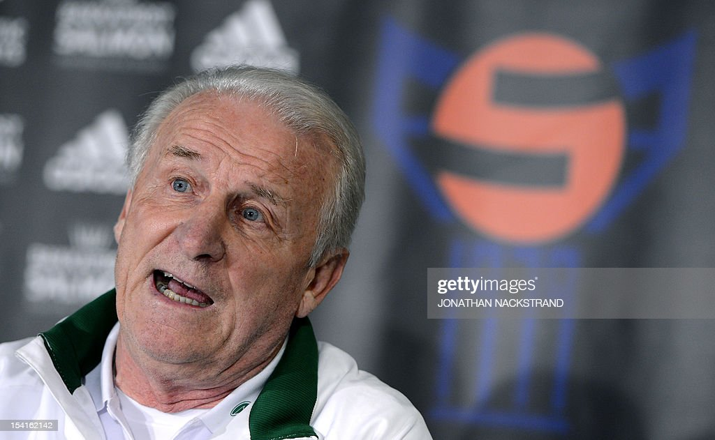 Ireland's Italian head coach, Giovanni Trapattoni addresses a press conference on October 15, 2012, one day before the FIFA 2014 World Cup group C qualifying football match Faroe Islands vs Ireland at the Torsvollur stadium in Torshavn.