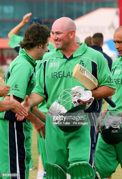 Ireland's Jeremy Bray is congratulated on his 41 runs as he leaves the field following their victory over Canada in their Warmup match at St...