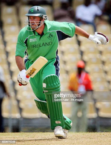 Ireland's Jeremy Bray scores runs during their warmup match against Canada at St Augustine Trinidad