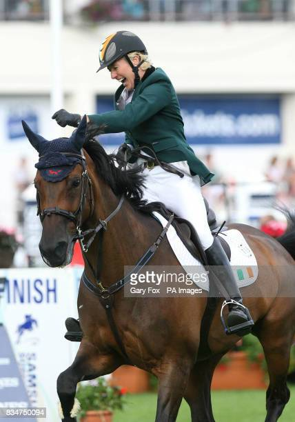 Irelands Jessica Kuerten celebrates on Castle Forbes Libertina after coming second during the Aga Khan trophy during the Aga Khan competition at the...