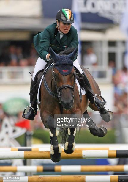 Ireland's Jessica Kuerten jumps on Castle Forbes Libertina during the Aga Khan competition at the Dublin Horse Show RDS Complex Dublin
