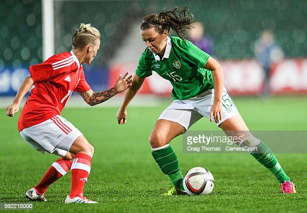 Irelands Katie McCabe takes on Wales Jess Fishlock during the Women's B International Friendly Challenge match between Wales and Republic of Ireland...