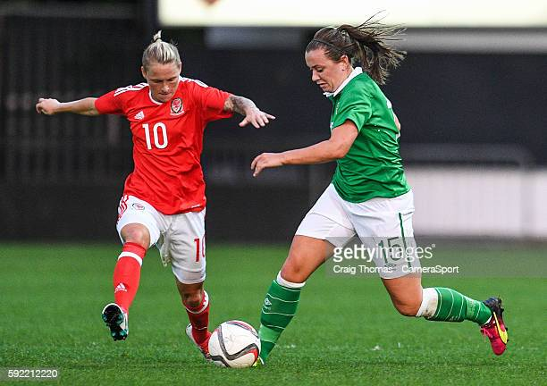 Irelands Katie McCabe under pressure from Wales Jess Fishlock during the Women's B International Friendly Challenge match between Wales and Republic...