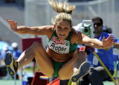 Ireland's Kelly Proper competes during the women's long jump qualifications at the 2010 European Athletics Championships at the Olympic Stadium in...