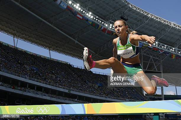 Ireland's Kerry O'flaherty competes in the Women's 3000m Steeplechase Round 1 during the athletics event at the Rio 2016 Olympic Games at the Olympic...