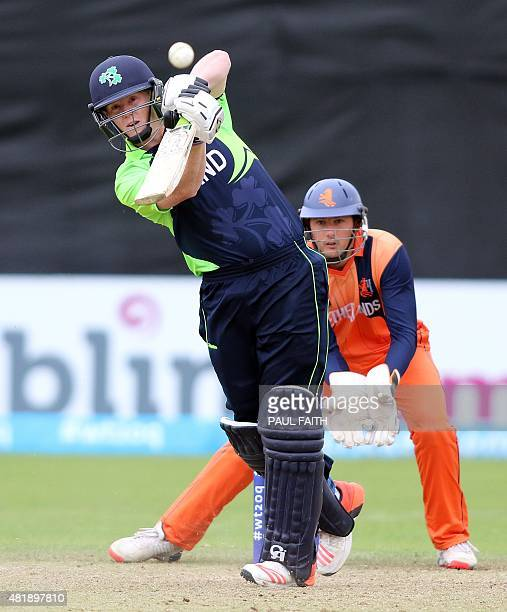 Ireland's Kevin O'Brien plays a shot during the ICC World Twenty20 Qualifer between Ireland and the Netherlands at Malahide cricket club north of...