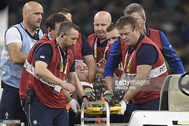 Ireland's lock and captain Paul O'Connell is stretchered off the field with an injury during the Pool D match of the 2015 Rugby World Cup between...