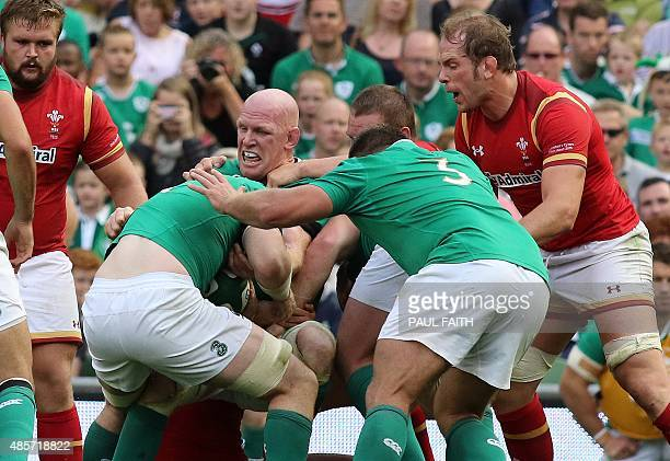 Ireland's lock Paul O'Connell in a rolling maul while playing his final home international during the 2015 Rugby World Cup warm up match between...