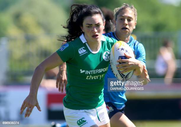 Ireland's Lucy Mulhall runs with the ball during the Women's Sevens Grand Prix Series rugby match Ireland versus Italy on June 17 2017 at the...