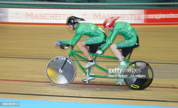 Ireland's Michael Delaney and Con Collis during the 1000M Time Trial B/Vi during the BT Paralympic World Cup Manchester