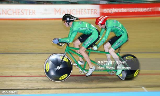 Ireland's Michael Delaney and Con Collis on their way to Bronze in the B/Vi 4KM Pursuit during the BT Paralympic World Cup Manchester