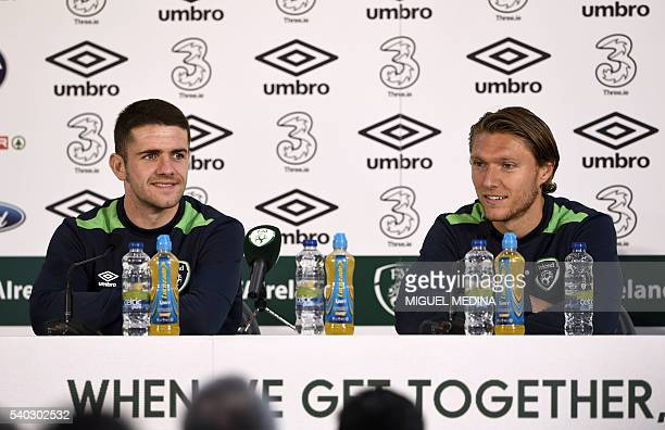Ireland's midfielders Robert Brady and Jeffrey Hendrick answer to journalists during a press conference at the Montbauron stadium in Versailles on...