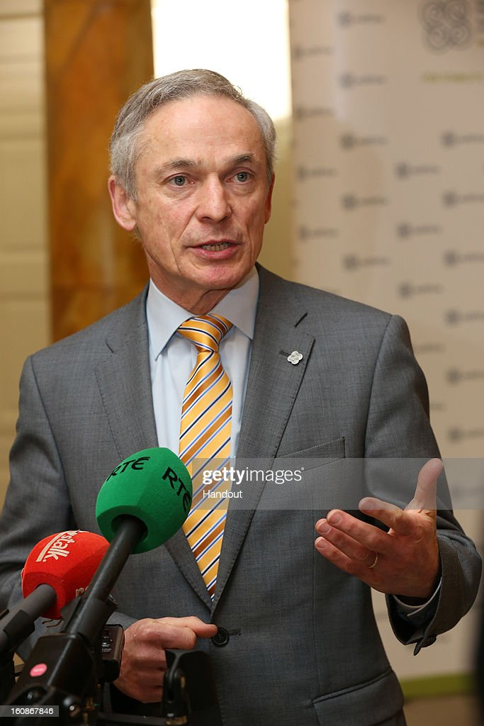 Ireland's Minister for Jobs, Enterprise and Innovation, Richard Bruton, T.D on his arrival to the Informal Meeting of Ministers for Employment and Social Affairs (EPSCO) in Dublin Castle, on February 7, 2013 in Dublin, Ireland. (Photo by Mac Innes Photography/The Department of the Taoiseach via Getty Images