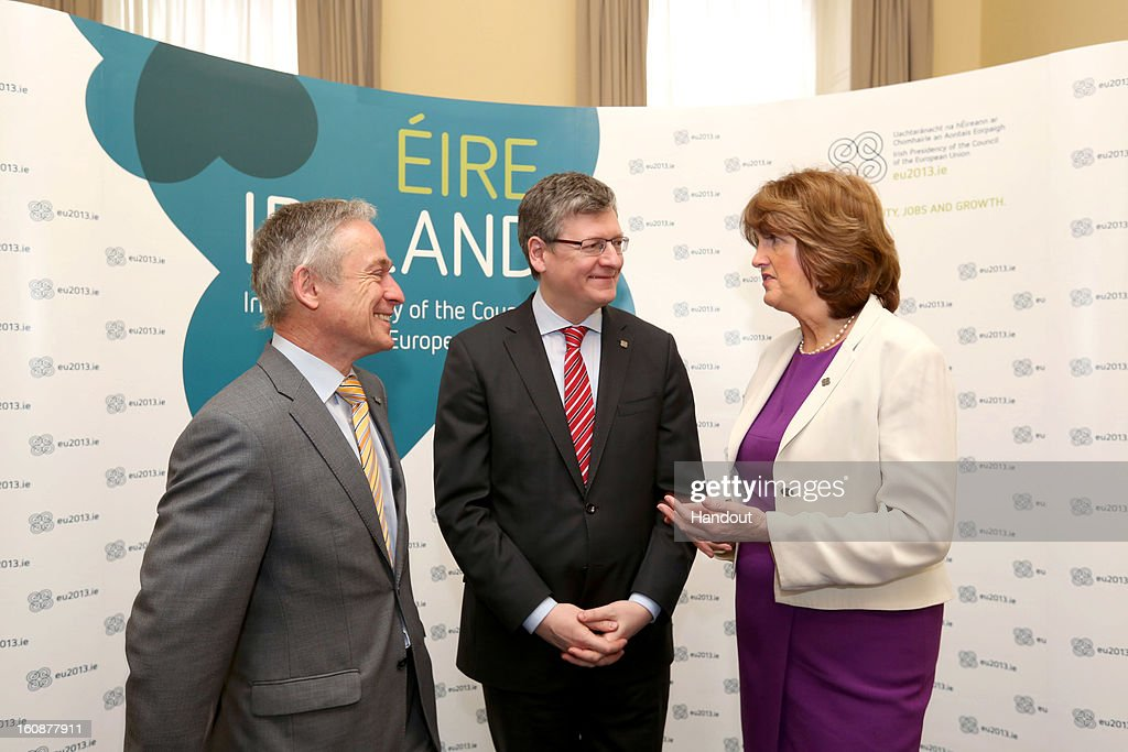 Ireland's Minister for Jobs, Enterprise and Innovation, Richard Bruton, TD, European Commissioner for Employment, Social Affairs and Inclusion, Laszlo Andor and Ireland's Minister for Social Protection, Joan Burton, TD attend the Informal Meeting of Ministers for Employment and Social Affairs (EPSCO) in Dublin Castle, on February 7, 2013 in Dublin, Ireland.