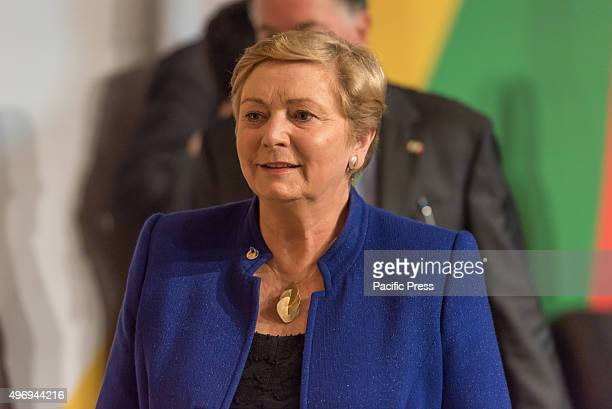 Ireland's Minister for Justice and Equality Frances Fitzgerald pictured on the second day of the Valletta summit on migration during the Roundtable...
