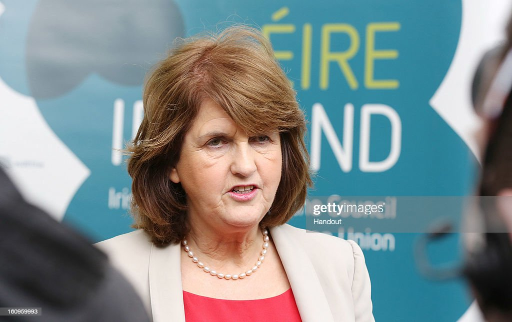 Ireland's Minister for Social Protection, Joan Burton, T.D attends the second plenary session of the Informal Meeting of Ministers for Employment and Social Affairs (EPSCO) on February 8, 2013 in Dublin Castle, Dublin, Ireland.