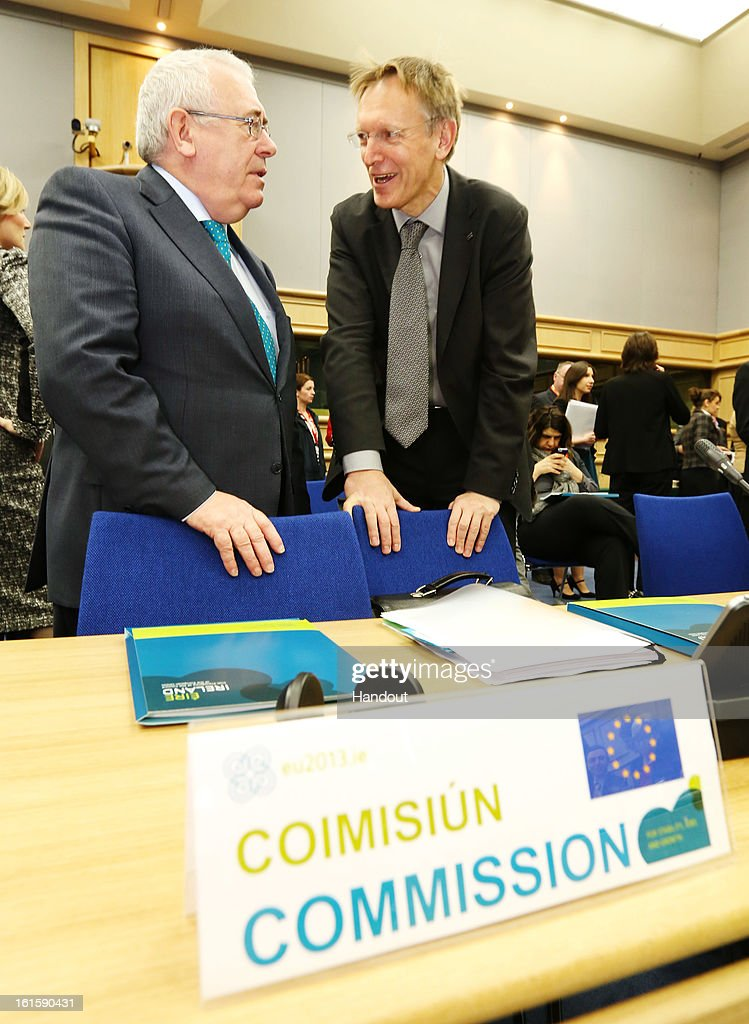 Ireland's Minister for Trade and Development and chair of the Informal meeting of Development Ministers, Joe Costello (R) and Janez Potocnik, European Commissioner for Environment attend the Informal Meeting of Ministers for Development Cooperation on February 12, 2013 in Dublin Castle, Dublin, Ireland. EU Development Ministers are discussing aid to Mali and efforts to help communities at risk of disaster to better prepare for shocks such as floods or drought. The Ministers and Commissioners are discussing options for a future EU development programme to Mali, in addition to the emergency aid which the EU is providing.