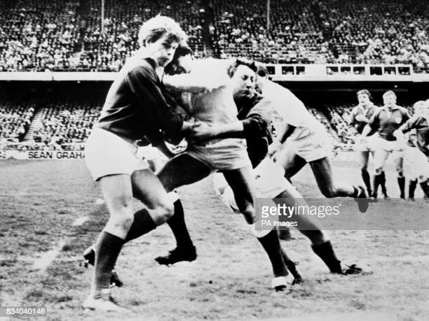Ireland's Moss Finn and Willie Duggan combine to stop an English run at the line at Lansdowne Road Ireland won 2515 tp share the championships with...