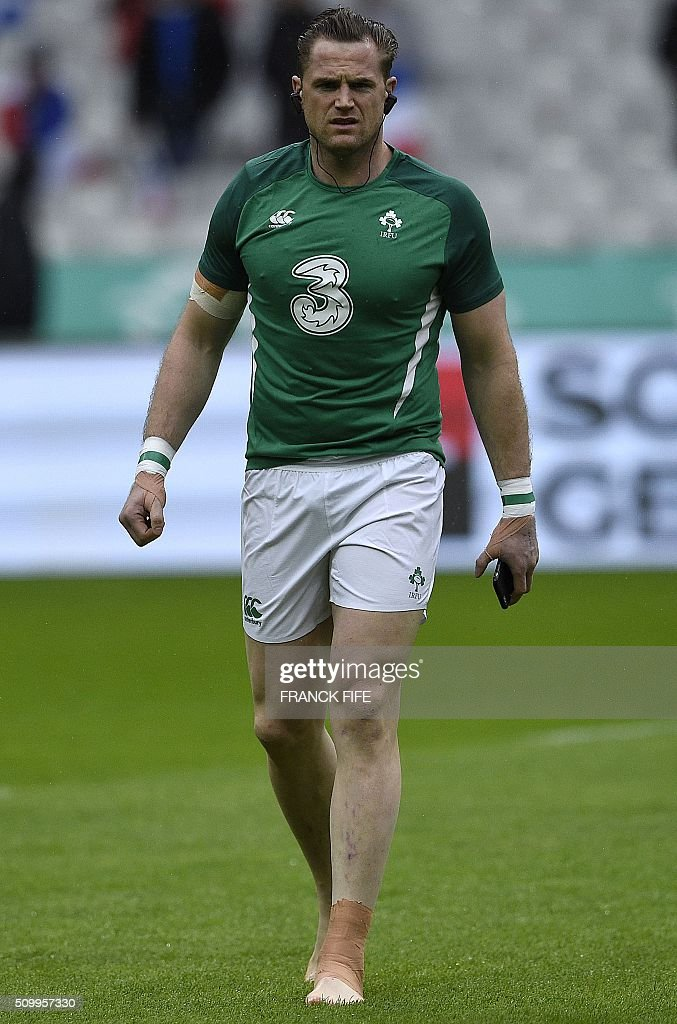 Ireland's N°8 Jamie Heaslip walks on the field ahead of the Six Nations international rugby union match between France and Ireland on February 13, 2016 at the Stade de France in Saint-Denis, north of Paris. AFP PHOTO / FRANCK FIFE / AFP / FRANCK FIFE