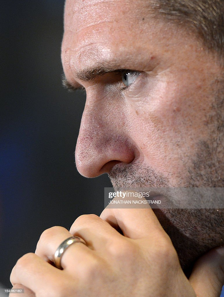 Ireland's national football team captain Robbie Keane attends a press conference on October 15, 2012, one day before the FIFA 2014 World Cup group C qualifying football match Faroe Islands vs Ireland at the Torsvollur stadium in Torshavn.