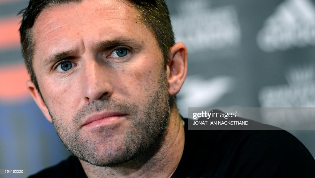 Ireland's national football team captain Robbie Keane attends a press conference on October 15, 2012, one day before the FIFA 2014 World Cup group C qualifying football match Faroe Islands vs Ireland at the Torsvollur stadium in Torshavn. AFP PHOTO / JONATHAN NACKSTRAND