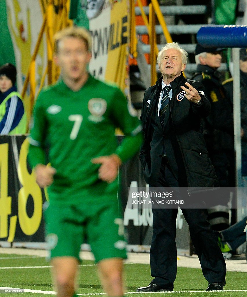 Ireland's national football team head coach Giovanni Trapattoni reacts during the FIFA 2014 World Cup group C qualifying football match Faroe Islands vs Ireland at the Torsvollur stadium in Torshavn on October 16, 2012.
