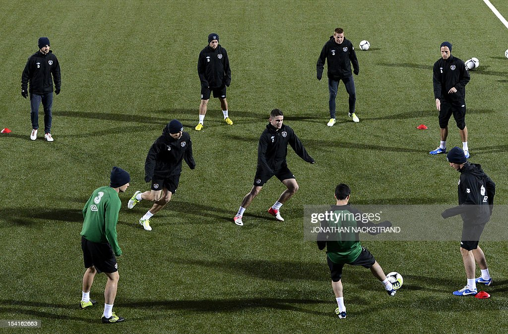 Ireland's national team football players take part in a training session on October 15, 2012, one day before the FIFA 2014 World Cup group C qualifying football match Faroe Islands vs Ireland at the Torsvollur stadium in Torshavn.
